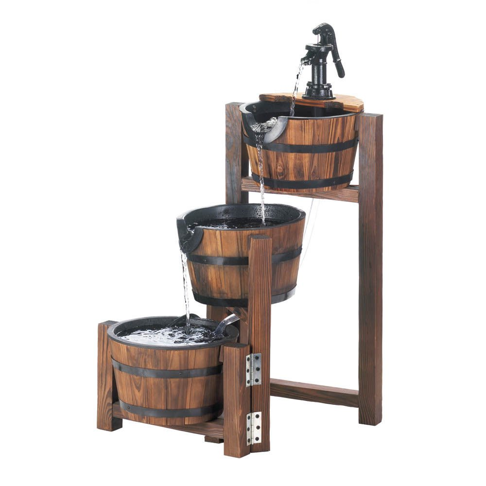 APPLE BARREL RUSTIC COUNTRY CASCADING ELECTRIC WATER FOUNTAIN PATIO GARDEN DECOR -MP#GH4498 349Y49HBRG9166062