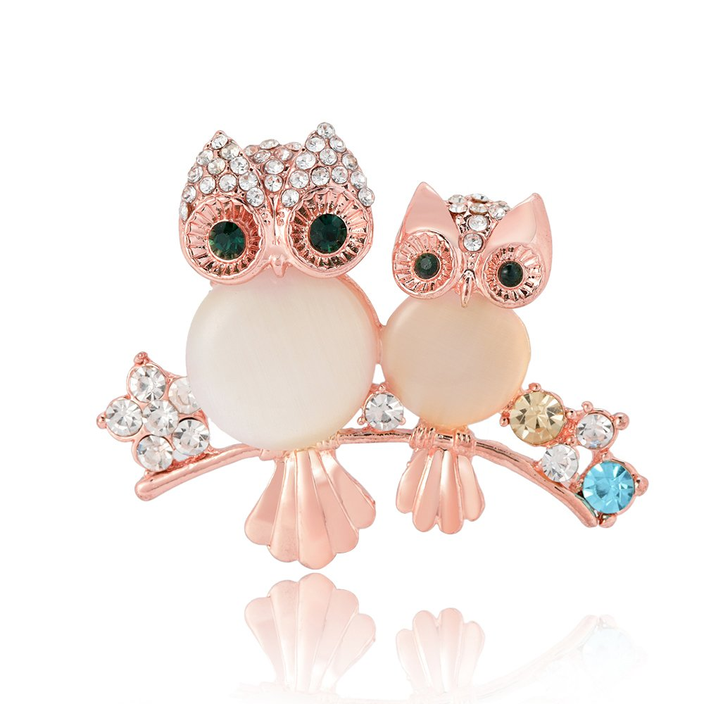 GUANDU Cute Baby and Mom Owl Crystal Brooch Pins for Women Teen Girls (Rose Gold)