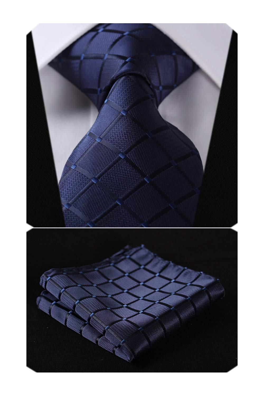 HISDERN Plaid Blue Tie Handkerchief Woven Classic Men's Necktie & Pocket Square Set,Navy Blue,One Size by HISDERN