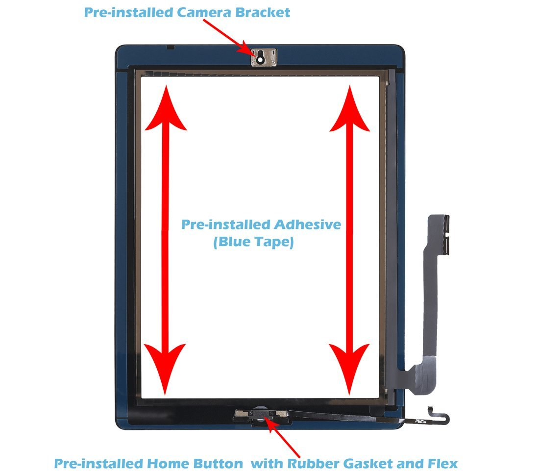 Midframe Bezel OmniRepairs-for iPad 4 Glass Touch Screen Digitizer OEM Assembly Replacement with Home Button Flex Adhesive Tape Screen Protector iPad 4 White 4th Generation and Repair Toolkit
