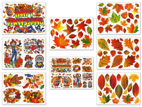 Thanksgiving and Fall Leaves Window Clings Decals Decorations (Fall Window)