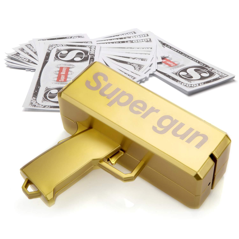 Alagoo Super Money Guns Paper Playing Spary Money Gun Make it Rain Toy Gun, Handheld Cash Gun Fake Bill Dispenser Money Shooter with 100 Pcs Play Money(Metallic Gold) by Alagoo (Image #5)