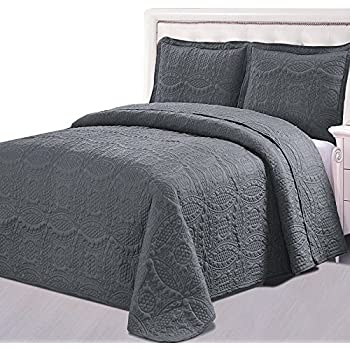 Amazon.com: Prewashed Durable Comfy Bedding Chevron Quilted Gray ... : gray quilted bedspread - Adamdwight.com