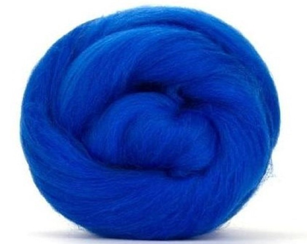 4oz Paradise Fibers 64 Count Dyed Royal (Blue) Merino Top Spinning Fiber Luxuriously Soft Wool Top Roving for Spinning with Spindle Or Wheel, Felting, Blending and Weaving