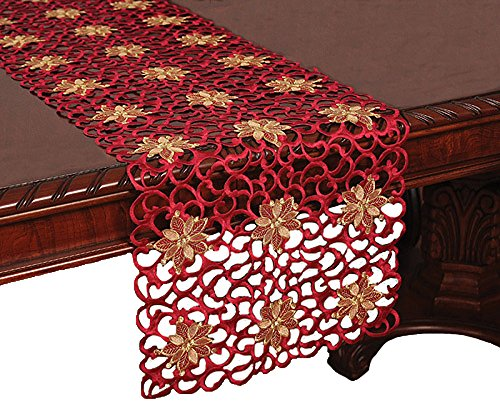 Xia Home Fashions 12 by 28-Inch Fleur De Noel Embroidered Cutwork Christmas Table Runner, Mini XD799091