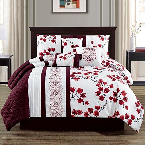 Elight Home 21177Q Camilla Embroidery 7 Piece Comforter Set44; Queen ()