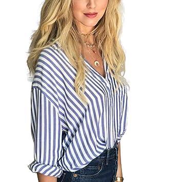 Babysbreath Camisa de rayas azules y blancas para mujer Camisa de manga larga Blusa de jersey