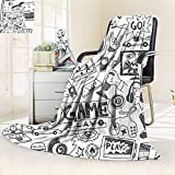 vanfan Soft Warm Cozy Throw Blanket Black White Sketch Style Gaming Design Racing Monitor Device Gadget Teen 90s,Silky Soft,Anti-Static,2 Ply Thick Blanket. (90''x70'')