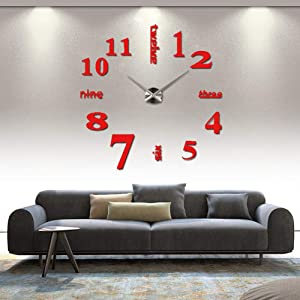 HOODDEAL DIY 3D Frameless Mirror Stickers Large Silent Wall Clock Modern Design Home Office School Number Clock Decorations for Living Room Kitchen Bedroom (Red+Silver)