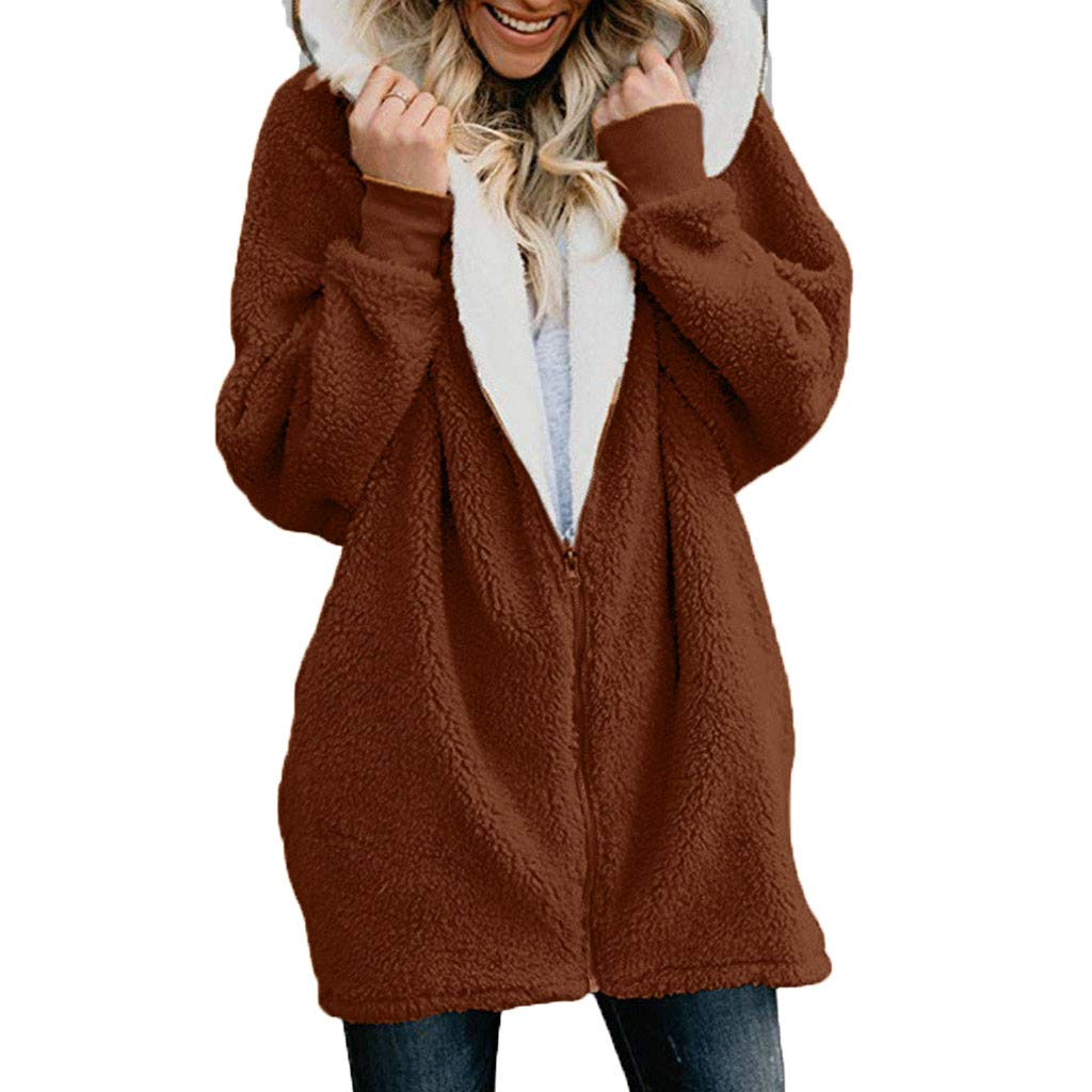 Pandaie Womens Long Sleeve Solid Fuzzy Fleece Jacket Open Front Hooded Cardigans Coats Outwear with Pocket Coffee by Pandaie