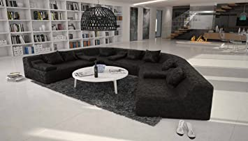 Rund-Sofa mit Bezug aus schwarzem Microfaser 410x272 cm halbrund ...