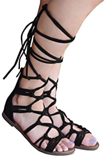 05a2a0d32625e Syktkmx Women Gladiator Sandals Flat Strappy Lace Up Open Toe Summer Knee  High Sandals