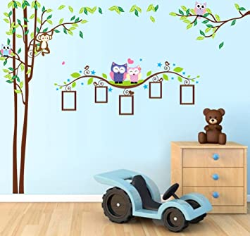 Nursery Wall Decals XL, Nursery Tree, Owl, Monkey, Picture Frame Wall Decals