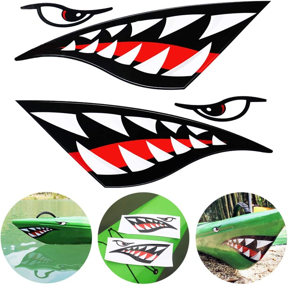 TENSPAL Shark Teeth Mouth Decals Sticker Kayak Boat Fishing Canoe Graphics Car Truck Reflective Graphics Accessories 2 Pcs