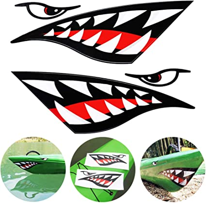 Canoe 2 x Big Shark Teeth Mouth Vinyl Decal Stickers for Sit on Tope Kayak