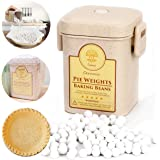 Pie Crust Weights, Ceramic Pie Weights 10mm Baking Beans with Wheat Straw Container for Blind Baking Pastry (2.2 LB / 1000g)