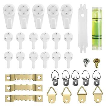 Ganchos de Pared Plásticos Percheros Transparente Soporte Para Colgar Cuadros, Marcos de Fotos, Pack de 80 Piezas