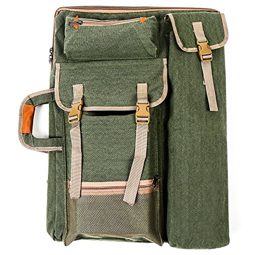 Art Bag (Tanchen 4K Canvas Artist Portfolio Carry Shoulder Bag Multifunctional Drawboard Bags for Drawing Sketching Painting (Army Green))