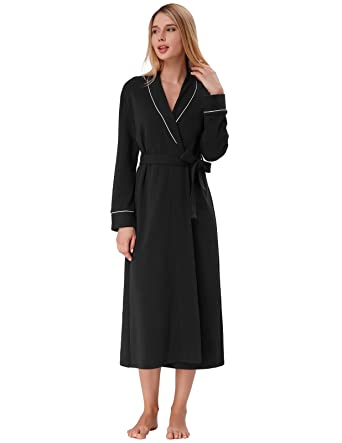 Cotton Robes for Women Pure Long Bathrobe with Pockets Loungewear Black  Size S d80ca85cb
