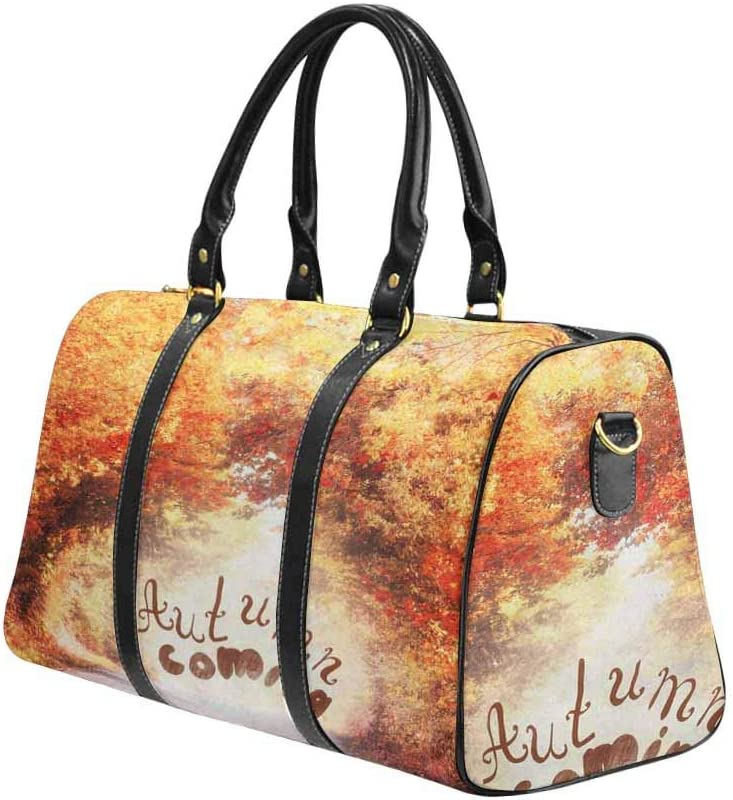 InterestPrint Carry-on Garment Bag Travel Bag Duffel Bag Weekend Bag Autumn Alley Landscape With Colorful Fall Foliage
