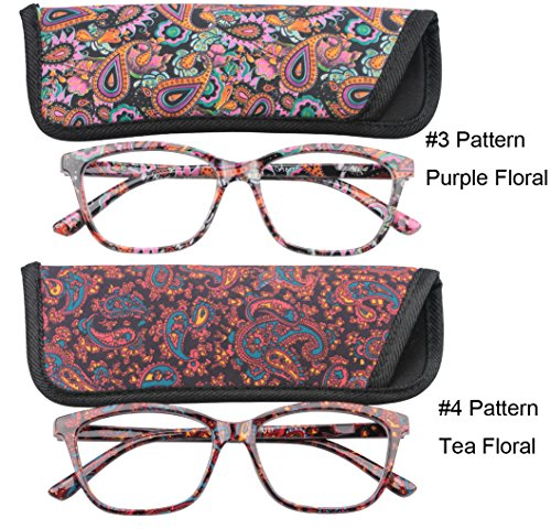 SOOLALA 2-Pair Designer Fashionable Spring Hinge Rectangular Reading Glasses w/ Matching Pouch, PurpleTea, +2.5 (Fashionable Spring)