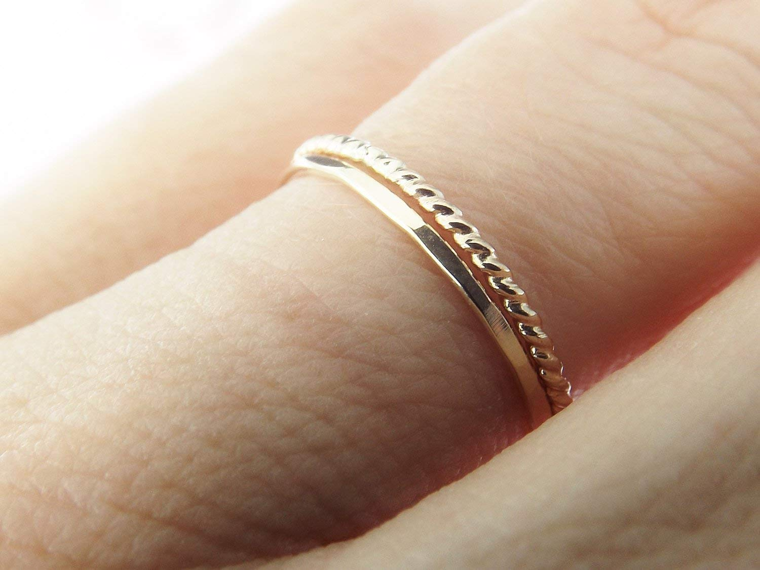 b61883b326986 Simple Gold Stacking Set, Mixed Metals Ring Set, Textured Rings ...