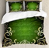 Gold Mandala Duvet Cover Set Queen Size by Ambesonne, Arabesque Frame with Lotus Shade Floral Swirls Little Hearts and Dots, Decorative 3 Piece Bedding Set with 2 Pillow Shams, Green Gold Black