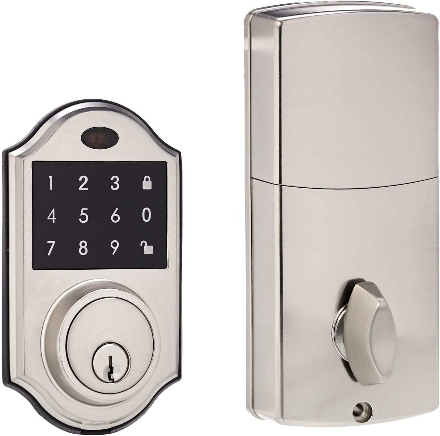 AmazonBasics Electronic Deadbolt Door Lock, Classic, Satin Nickel
