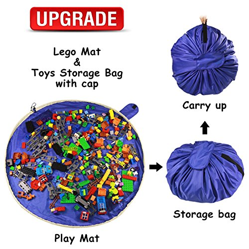 Lego Toy Storage Mat Bag by Drawstring Lego Mat Bag - Play Toy Mat Bag/Storage for Kids – Portable Lego Container Storage 60'' for Children Organizer and Storage Clean up Lego Toys with Cap (UPGRADE) by Summer Bamboo