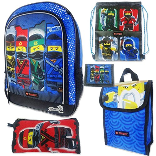 Lego Ninjago Movie Boys Backpack and Lunch Bag - 5pc School Essentials Set