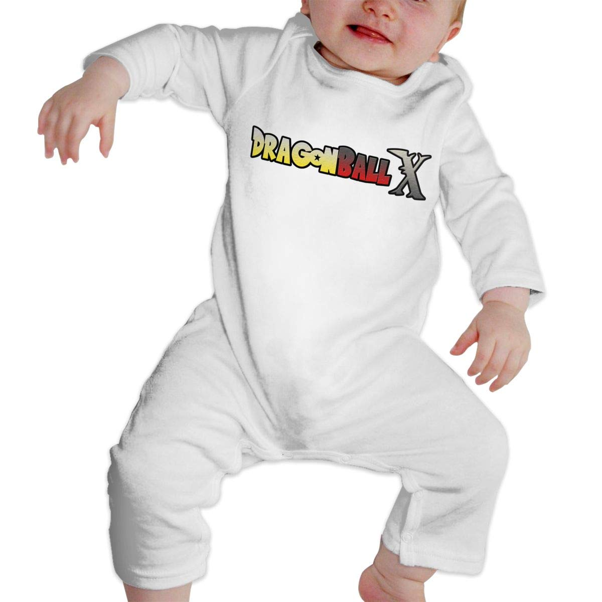 Unisex Baby Crew Neck Long Sleeve Pure Color Onesie Dra/_gon Ball X Crawling Suit White 43