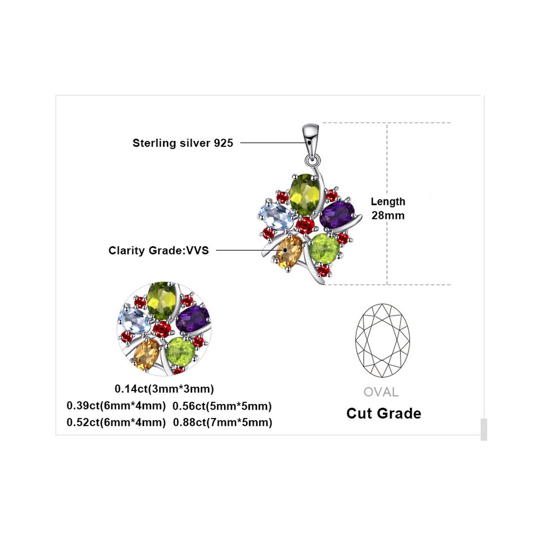CS-DB Pendants 3.1ct Amethyst Garnet Peridot Citrine Topaz Silver Necklaces