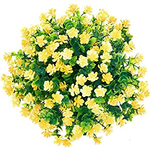 CQURE Artificial Flowers, Fake Flowers Artificial Greenery UV Resistant Plants Eucalyptus Outdoor Bridal Wedding Bouquet for Home Garden Party Wedding Decoration 5 Bunches (Yellow) 52