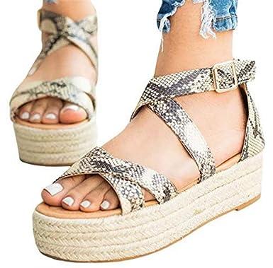 cb2dda76746bf Amazon.com: Women Flat Wedge Platform Sandals Leopard Pumps Straw ...