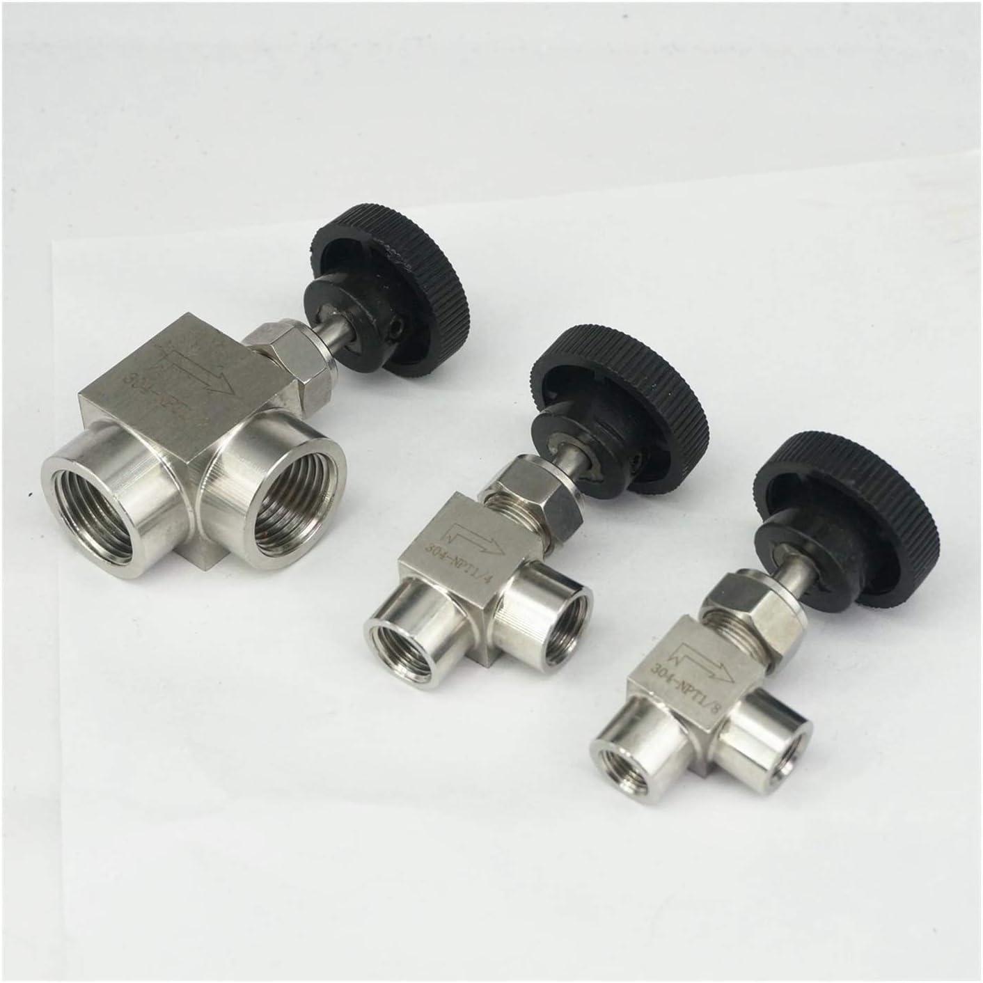 Specification : 1//8 SUOFEILAIMU-Valve 1//8 1//4 3//8 1//2 Inch BSP Female Thread Adjustable Needle Valve 90 Degree Stainless Steel 304 ON//Off