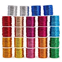 Genie Crafts Metallic 1mm Twine Cord (24 Pack), 12 Colors