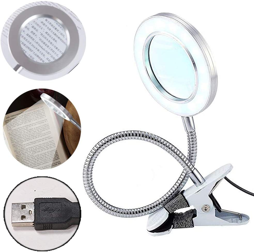 Lighting LED Clip on Light/Clamp Lamp/Reading Light with 3X Magnifying Glass for Book,Office,Bed Headboard,Desk, Eye-Care Cool Light