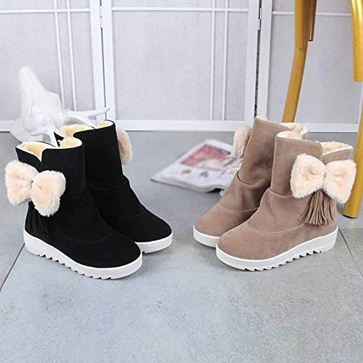 b0e7b9e1ba3 Anshinto Women Butterfly-Knot Booties, Female Solid Color Cute Snow ...