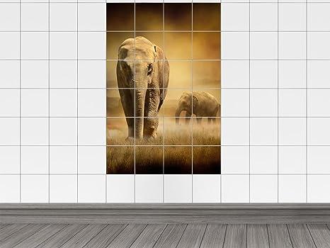 Piastrelle adesivo piastrelle immagine grande elefante con la sua