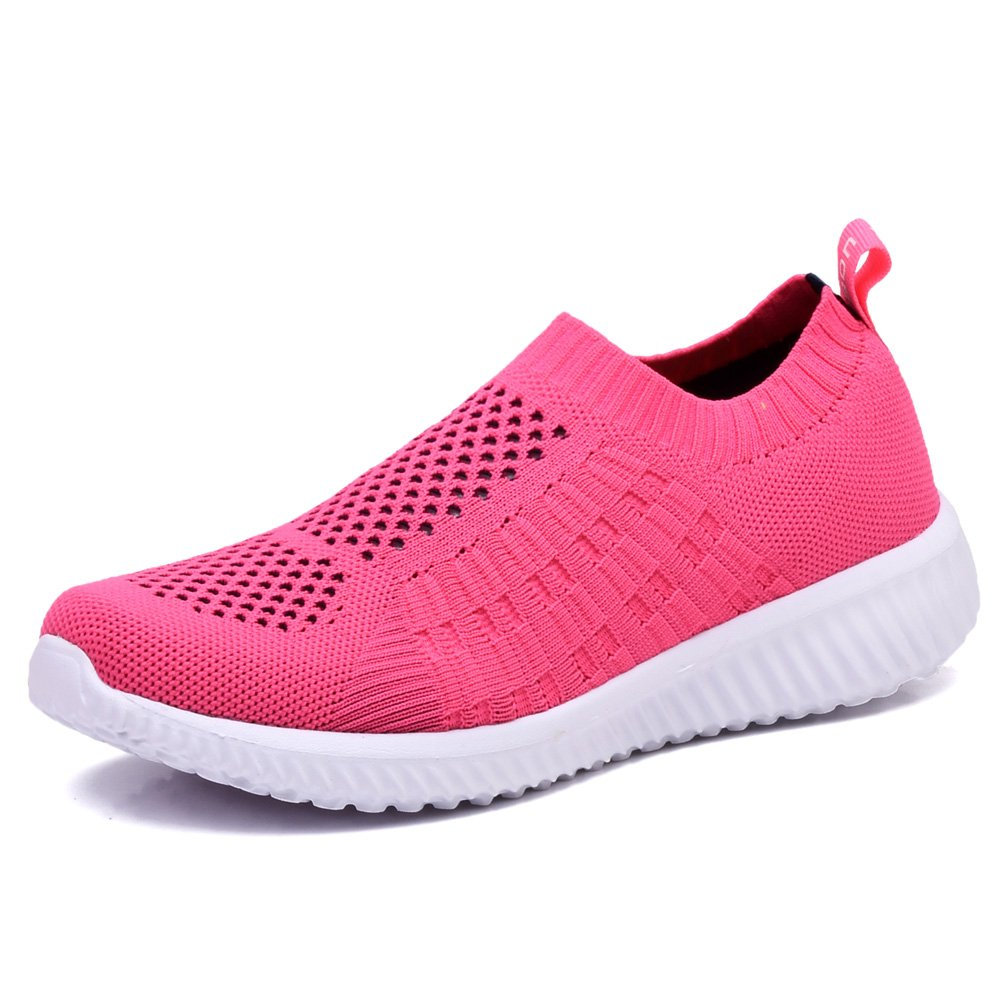 TIOSEBON Women's Athletic Shoes Casual Mesh Walking Sneakers - Breathable Running Shoes B06Y59CV8X 6.5 M US|6701 Rosy