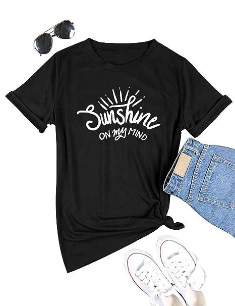 5835dc6c3837 DRESSWEL Mujer Camiseta con Estampado de Letras Sunshine On My Mind ...