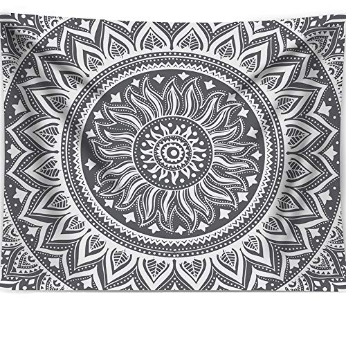 "Grey Mandala Tapestry, Psychedelic White Boho Painting Wall Art Hippie Bohemian Indian Wall Hanging Tapestry Home Decor for Bedroom Living Room Dorm Apartment 60""x80"""
