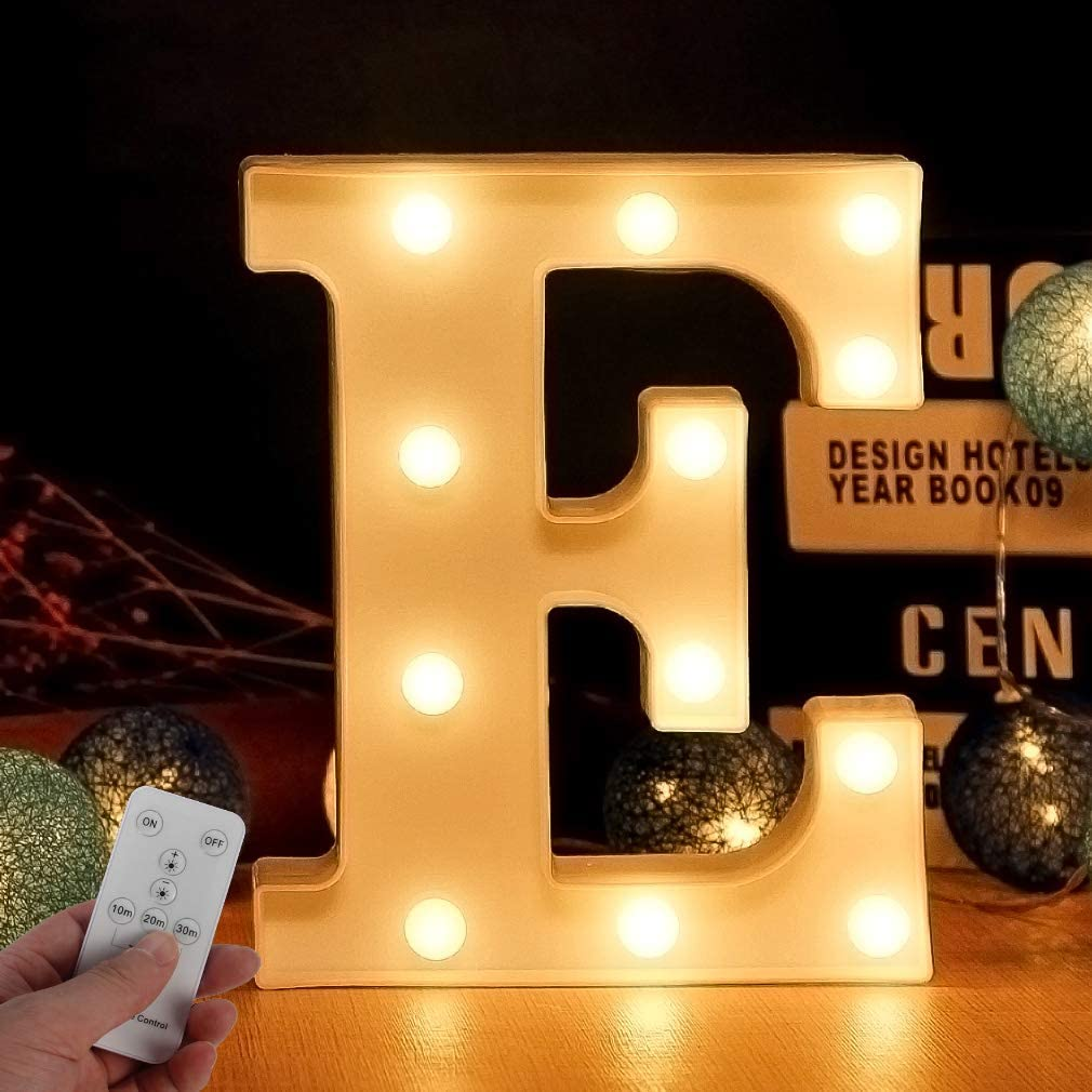 Light Up Letters for Wall Decor, Led Lights Alphabet Light Up Marquee Gold Letters Sign Lamps with Remote for Wedding Birthday Party Battery Powered Christmas Lamp Home Bar Decoration (Letters up E)