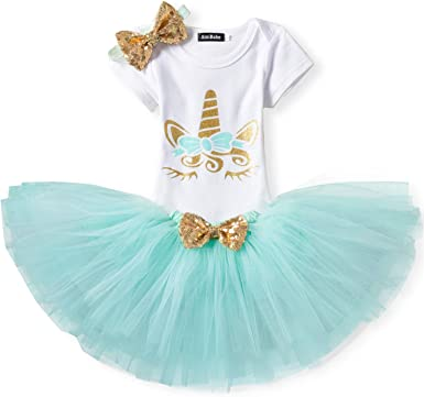 Mädchen Newborn 1 Geburtstag 3 Stück Outfits Strampler Tutu Kleid