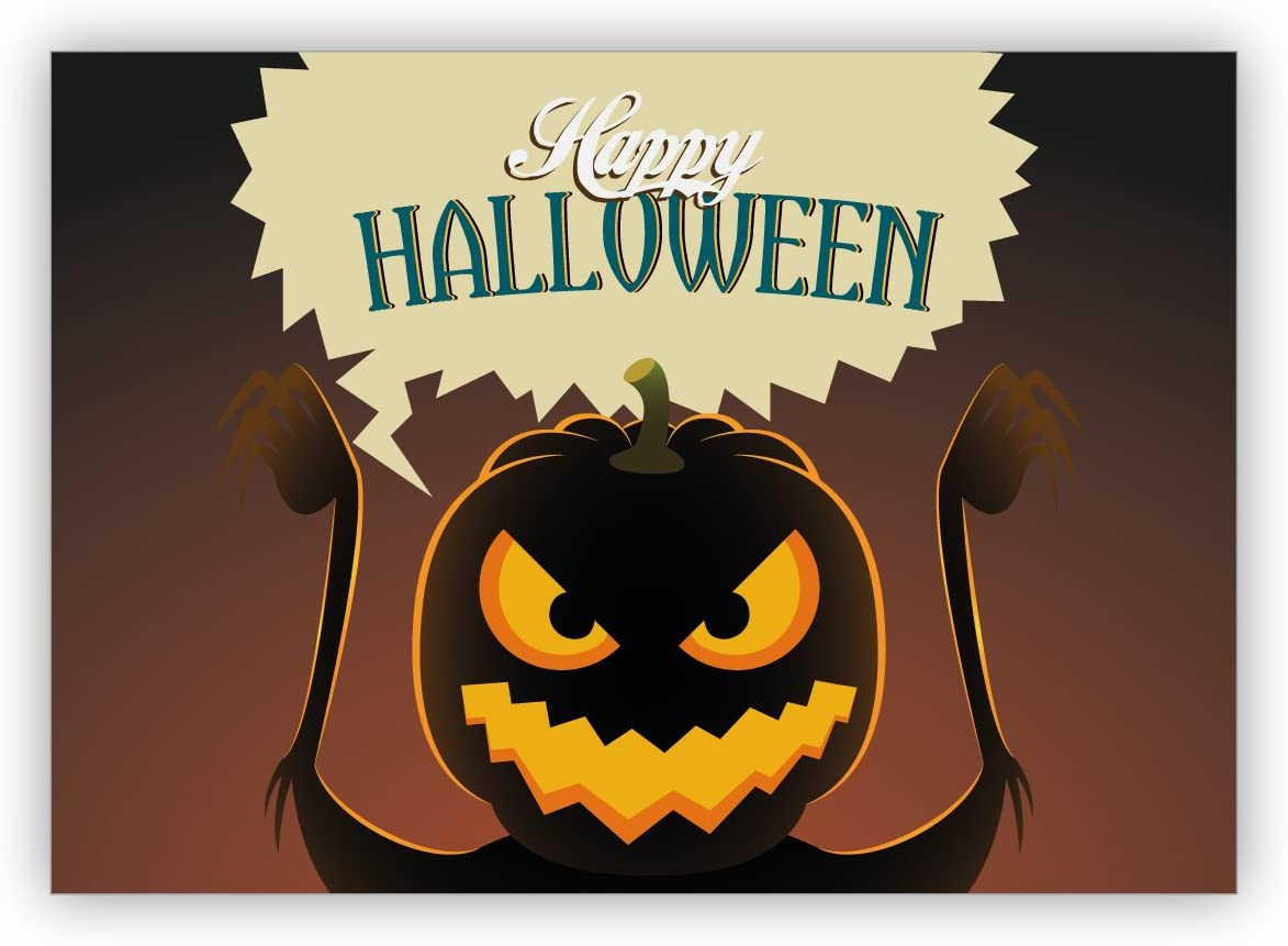 Gruselige Halloween Postkarten mit K/ürbis Eule und Katzen Happy Halloween