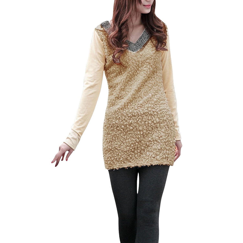 Allegra K Lady V Neck Beads Decor Textured Front Stretchy Slim Mini Dress Black XS