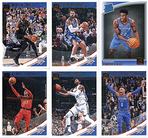 2018-19 Donruss Basketball Oklahoma City Thunder Team Set of 6 Cards: (Rookies included) Dennis Schroder(#6), Russell Westbrook(#107), Paul George(#117), Steven Adams(#137), Nerlens Noel(#147), Hamidou Diallo(#171)