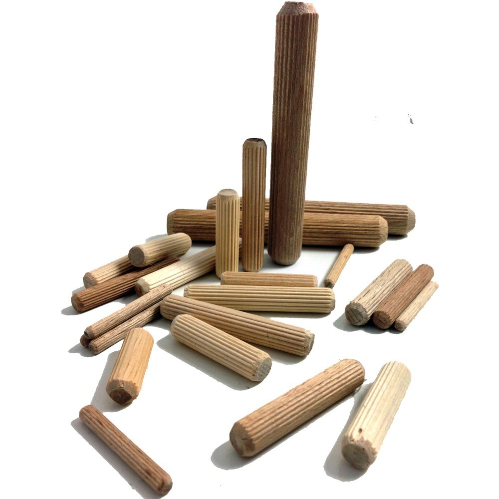 12mm x 40mm HARDWOOD MULTIGROOVE CHAMFERED WOODEN DOWELS FLUTED PINS CRAFT WOOD WORK (100) Falcon Workshop Supplies