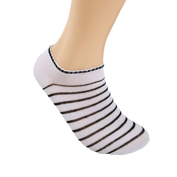 Xuxuou 5pcs Calcetines blancos de los hombres de la raya calcetines de Corea Invisible