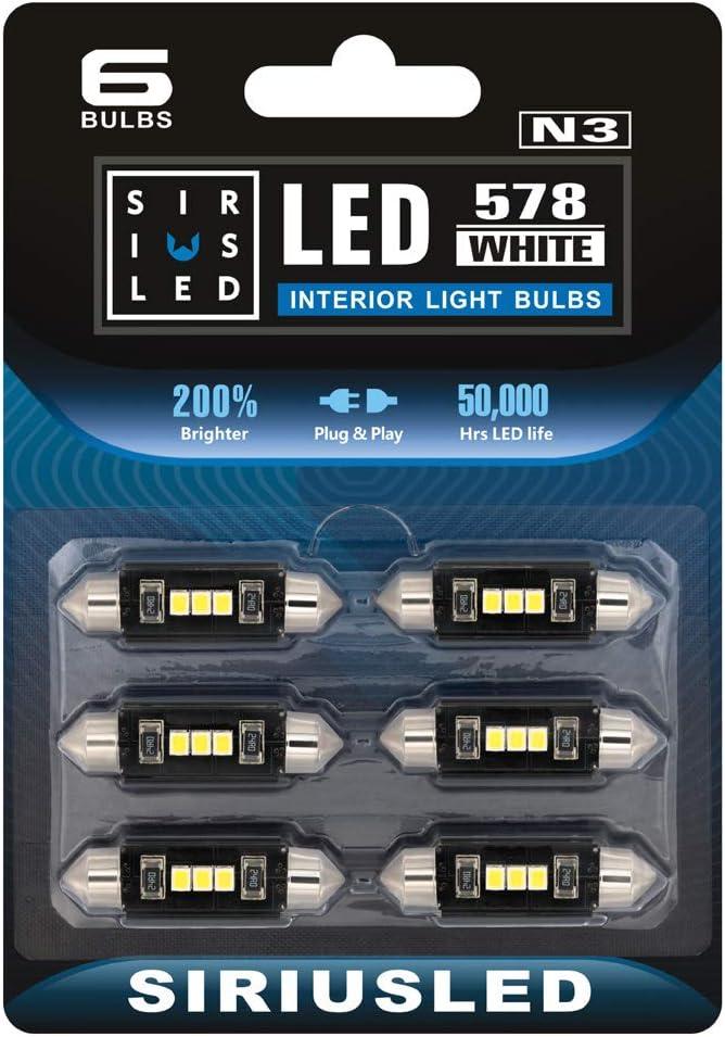 "SIRIUSLED N3 578 LED bulbs Pure white Super Bright LED Festoon 300 Lumens 2835 Chipset for Car Truck Interiors Dome Map Door Courtesy Lights 1.72"" 41MM Festoon 211-2 569 212-2 Pack of 6 Bulbs"